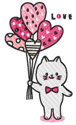 Valentines Day Cat embroidery design