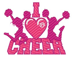 I Love Cheer embroidery design