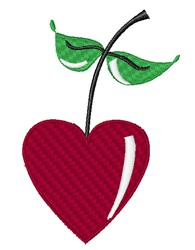 Cherry Heart & Leaves embroidery design