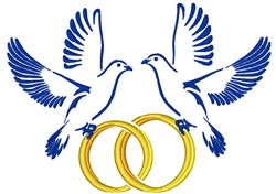 Wedding Doves & Rings embroidery design