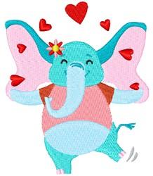 Valentine Day Elephant embroidery design