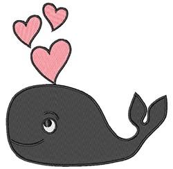 Kawaii Whale Love embroidery design