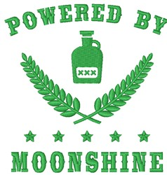 Powered By Moonshine embroidery design