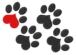 Pawprint Love embroidery design