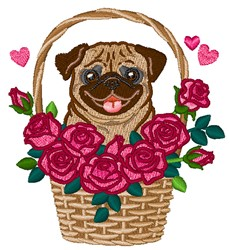 Pug In A Basket embroidery design