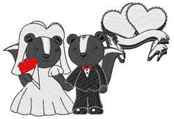 Skunk Wedding embroidery design