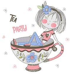 Tea Party Tea Cup embroidery design