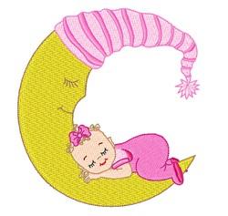 Baby Girl Sleepng embroidery design