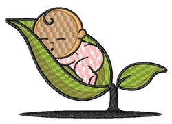 Pea Pod Baby embroidery design