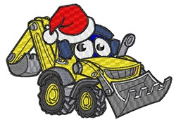 Christmas Cartoon Excavator embroidery design