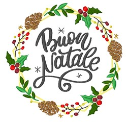 Buon Natale Wreath embroidery design