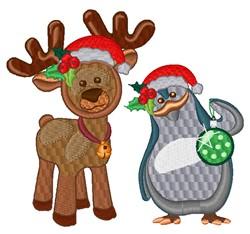 Kawaii Reindeer & Penguin embroidery design
