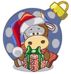 Kawaii Christmas Bull Ornament embroidery design
