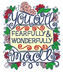 You Are Wonderfully Made embroidery design