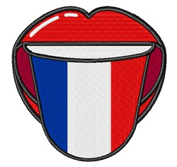 French Flag Tongue Out embroidery design