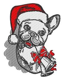Christmas French Bulldog embroidery design