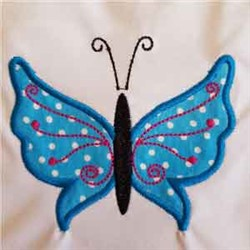 Applique Blue Butterfly embroidery design