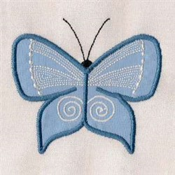 Blue Applique Butterfly embroidery design