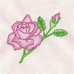 Rose & Bud embroidery design