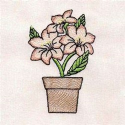 Potted Lily embroidery design