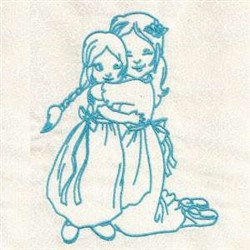 Bluework Mother & Girl embroidery design