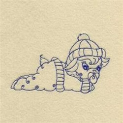 Baby Winter Lamb embroidery design