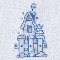 Bluework Winter House embroidery design