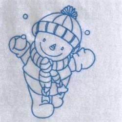 Bluework Winter Snowman embroidery design