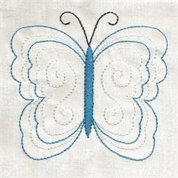 Blue Butterfly Outline embroidery design