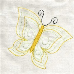 Yellow Butterfly Outline embroidery design
