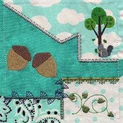 Crazy Quilt Squirrels embroidery design