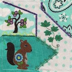 Squirrel Crazy Quilt embroidery design