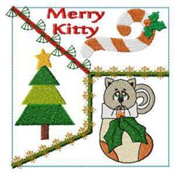 Merry Kitty embroidery design