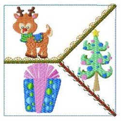 Crazy Quilt Reindeer embroidery design