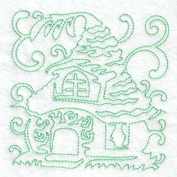 Continuous Line Home embroidery design