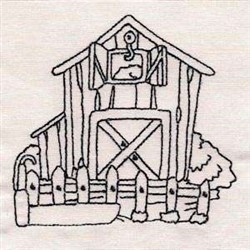 Barn Redwork embroidery design