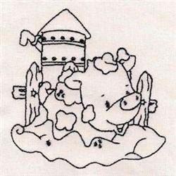 Farm Redwork embroidery design