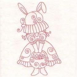 Easter Redwork Girl embroidery design