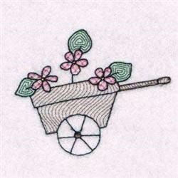 Floral Wheelbarrow embroidery design