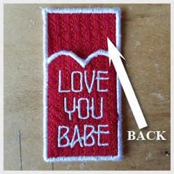 Love You Babe Back embroidery design