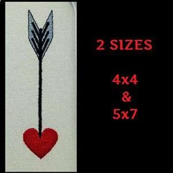 Valentines Day Arrow embroidery design
