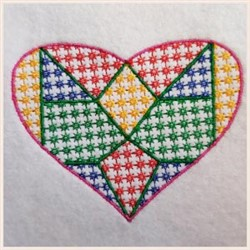 Mosaic Candlewick Heart embroidery design