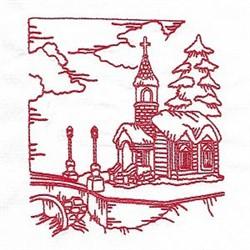 Redwork Winter Village Church embroidery design