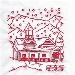 Redwork Winter Village embroidery design