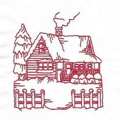 Redwork Winter Cabin embroidery design