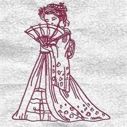 Redwork Geisha & Fan embroidery design