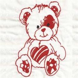 Redwork Valentines Day Bear embroidery design