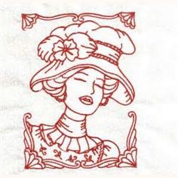 Redwork Victorian Women embroidery design