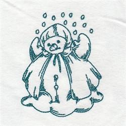Rainy Day Redwork Snowman embroidery design