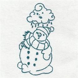 Snowman In The Rain Redwork embroidery design